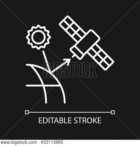Remote Sensing Satellite White Linear Icon For Dark Theme. Digital Earth Conceptualization. Thin Lin