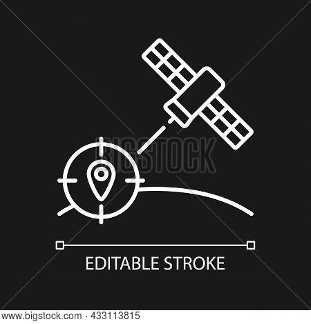 Navigation Satellite White Linear Icon For Dark Theme. Satellite-based Radionavigation System. Thin