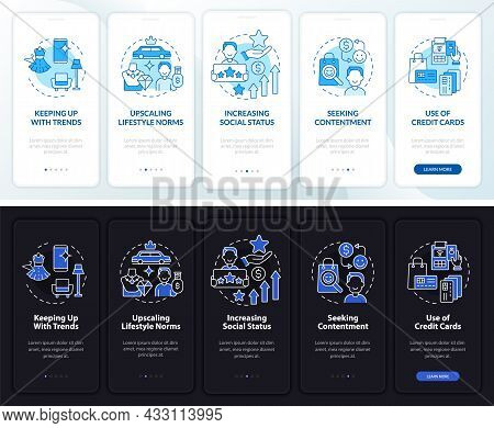 Consumerism Motivation Dark, Light Onboarding Mobile App Page Screen. Walkthrough 5 Steps Graphic In