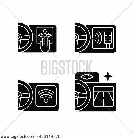 Advanced Car Technologies Black Glyph Icons Set On White Space. Gesture Control. Digital Voice Assis