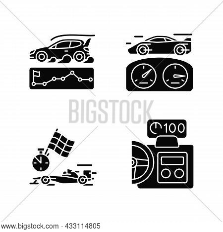 Automobiles Racing For Competition Black Glyph Icons Set On White Space. Rallying Event. Test Car Li