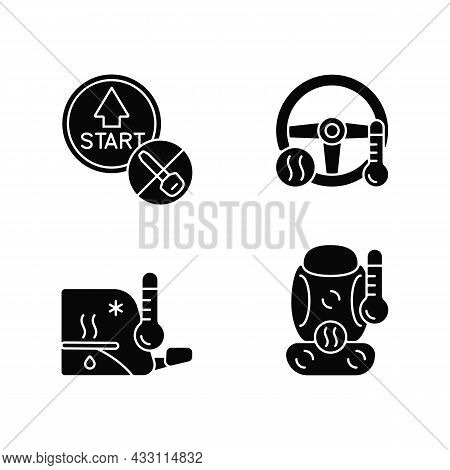 Modern Automotive Features Black Glyph Icons Set On White Space. Push Button Start. Providing Comfor