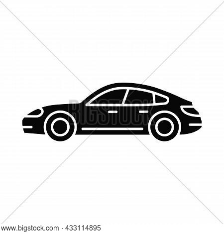 Sports Sedan Black Glyph Icon. Luxury Passenger Vehicle. Four-door Sports Automobile. Performance-fo