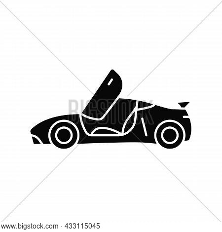 Car With Butterfly Doors Black Glyph Icon. High-performance Sports Vehicle. Supercar Modifications.