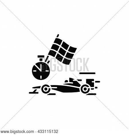 Formula Racing Black Glyph Icon. Driving Single-seater Car. Highest Class Auto Racing. Professional