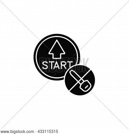 Push Button Start Black Glyph Icon. Keyless Ignition Technology. Vehicle With Remote Starter. Automo