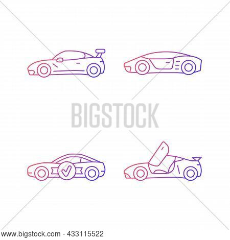 Race Car Models Gradient Linear Vector Icons Set. Customized Vehicle. High-rated Professional Auto.