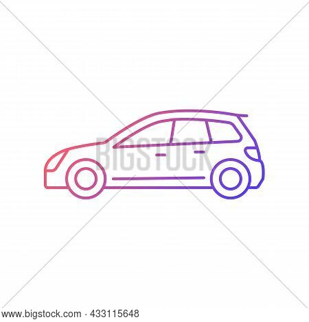 Hatchback Gradient Linear Vector Icon. Cheap Sports Car. Auto With Two-box Design. Vehicle With Hing