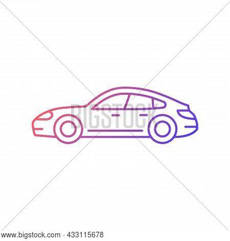 Sports Sedan Gradient Linear Vector Icon. Luxury Passenger Vehicle. Four-door Sports Automobile. Sty