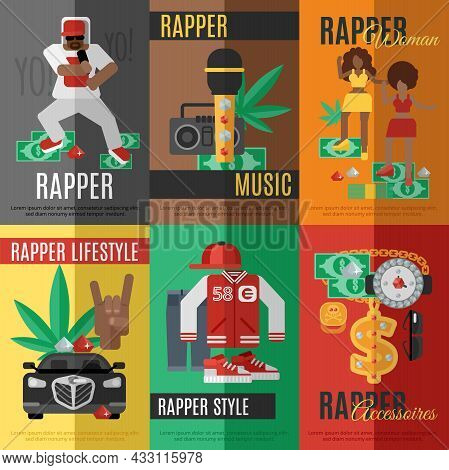 Rap Music Mini Poster Set With Rapper Style Clothing And Accessories Isolated Vector Illustration