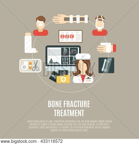 Fracture Bone Treatment Concept With Flat Healthcare Icons Set Vector Illustration