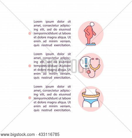 Health Problems Concept Line Icons With Text. Ppt Page Vector Template With Copy Space. Brochure, Ma