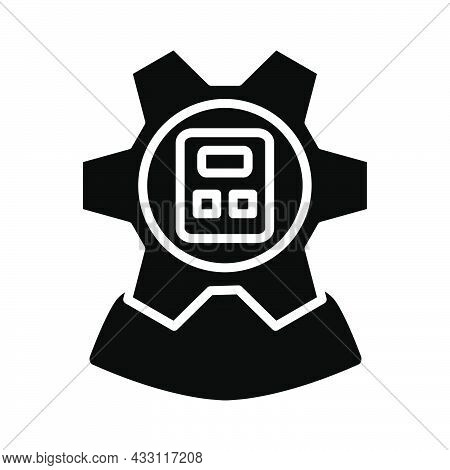 Analyst With Gear Hed And Calculator Inside Icon. Black Stencil Design. Vector Illustration.