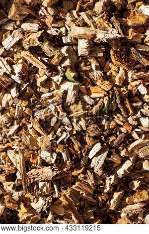Background of wood chips, organic garden