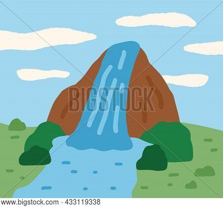Mountain With Waterfall On Jeju Island In Korea. Stream Of Water Fall Flowing From Mounts Peak. Kore