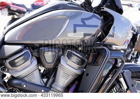 Bordeaux , Aquitaine  France - 09 10 2021 : Harley Davidson 1250 Pan America Motorcycle Fuel Tank Pe