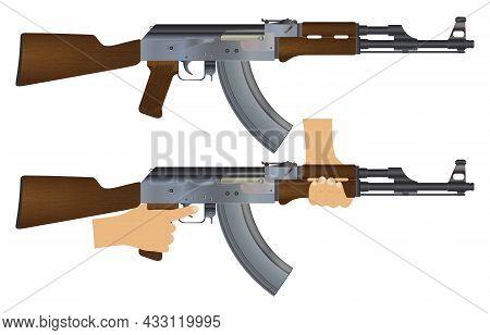 Machine Gun. Weapon. Machine Gun In Hand. Weapons Ready For Use.