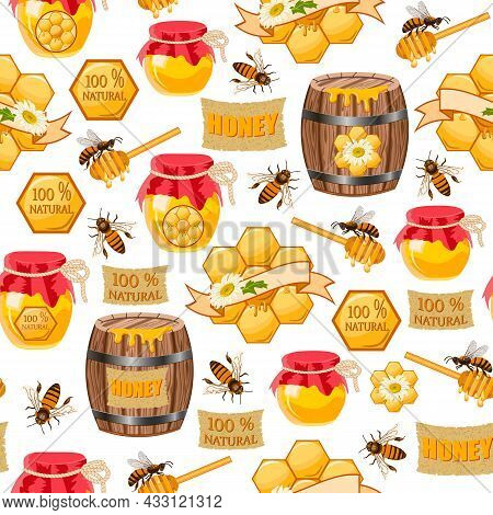 Vector Pattern With Bees And Honey.barrels And Jars With Honey, Bees, Honeycomb On A White Backgroun