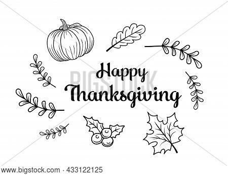 Thanksgiving. Give Thanks Hand Drawn Lettering For Thanksgiving Day. Thanksgiving Design For Cards,
