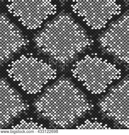 Vector Illustration Of Monochrome Grey Snake Skin Scales Seamless Pattern