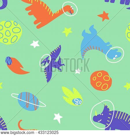 Dino Travels The Galaxy With Stars And Planets. Seamless Pattern Of Dinosaurs Traveling In Space. De