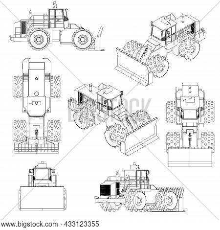 Set With The Contours Of The Bulldozer From Black Lines Isolated On White Background. 3d. Vector Ill