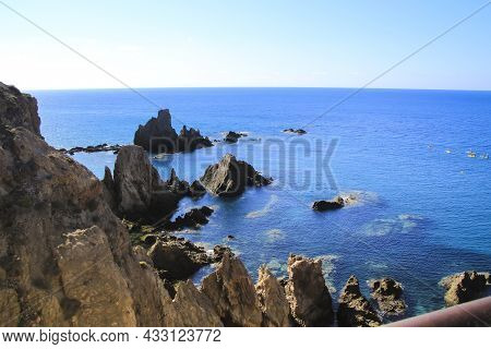 Reef Of The Sirens In Cabo De Gata-nijar Natural Park, Almeria, Spain On A Sunny Day Of Summer.