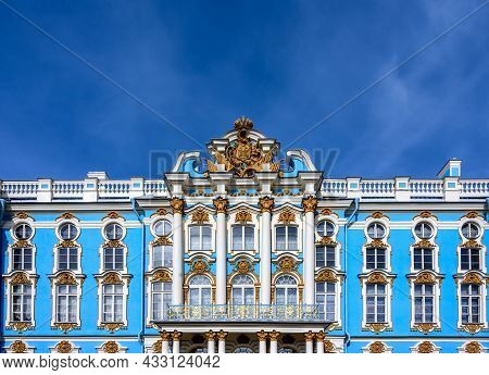 Pushkin (saint Petersburg), Russia - 04 09 2017: The Light Blue Facade Of Catherine Palace In Tsarsk