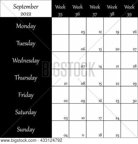 September 2022 Planner With Number For Each Week Black On Transparent Backgroun