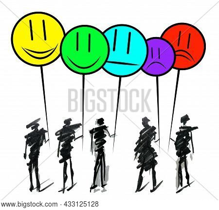 Hand Drawn Doodle Line Art Cartoon Design Character Group Of People Holding Emoji To Show Positive,