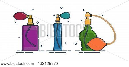 Colored Perfume Bottle Isolated Icon On White Background. Spray System. Three Glamour Container Glas