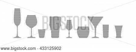 Champagne, Wine, Vodka, Beer Liquor Whiskey Martini Rum Tequila Glass In Minimalist Linear Style. Si