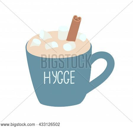 Cup Of Hot Chocolate With Foam, Marshmallows And Cinnamon. Hand-drawn Vector Illustration With An In