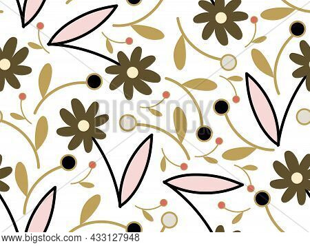 Abstract Shapes Floral Seamless Background. Fabric Material, Dress, Autumn Summer Any Season Collect