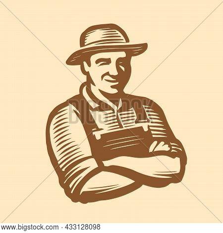 Farmer Man Logo. Farm, Agriculture Symbol In Engraving Style. Sketch Vintage Vector Illustration