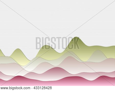 Abstract Mountains Background. Curved Layers In Green Pink Colors. Papercut Style Hills. Astonishing