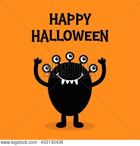 Happy Halloween. Monster Black Silhouette. Five Eyes, Fang Tooth. Bones Text Font. Bone Letter Type.