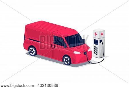 Red Electric Cargo Van Charging Parking At The Charger Station With A Plug In Cable. Isolated Flat V