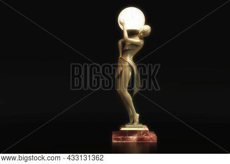 Artistic 3D Illustration Of A Statuette