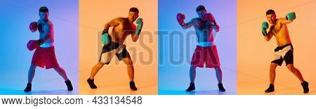 Sport Collage. Young Man, Professional Boxer In Action Training Isolated Over Yellow Purple Studio B