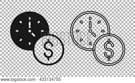 Black Time Is Money Icon Isolated On Transparent Background. Money Is Time. Effective Time Managemen