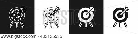 Set Target Financial Goal Concept Icon Isolated On Black And White Background. Symbolic Goals Achiev