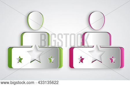 Paper Cut Actor Star Icon Isolated On Grey Background. Paper Art Style. Vector