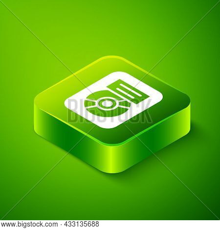 Isometric Cd Disk Award In Frame Icon Isolated On Green Background. Modern Ceremony. Best Seller. Mu
