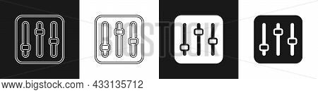 Set Sound Mixer Controller Icon Isolated On Black And White Background. Dj Equipment Slider Buttons.