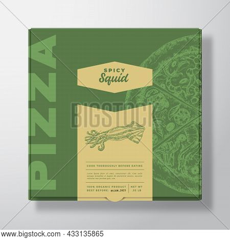 Pizza With Seafood Squid Realistic Cardboard Box Mockup. Abstract Vector Packaging Design Or Label.