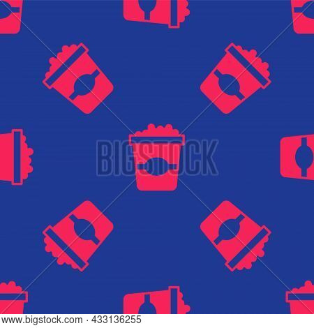 Red Popcorn In Cardboard Box Icon Isolated Seamless Pattern On Blue Background. Popcorn Bucket Box.