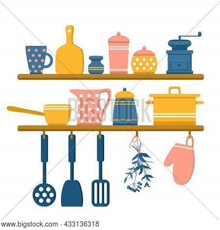 Kitchen Shelves With Jars Of Spices, Pots, Coffee Grinder, Mug, Jug And Bowls. Dried Herbs, Potholde