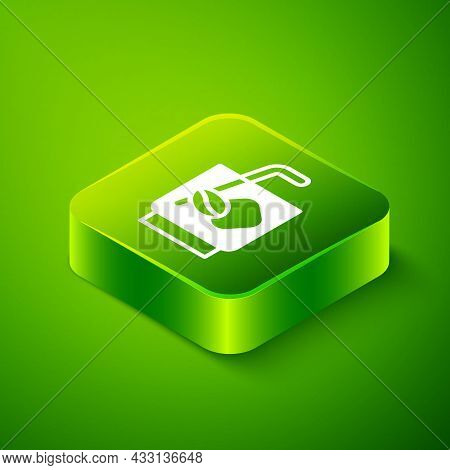 Isometric Espresso Tonic Coffee Icon Isolated On Green Background. Green Square Button. Vector