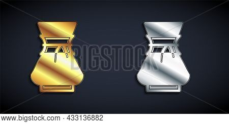 Gold And Silver Pour Over Coffee Maker Icon Isolated On Black Background. Alternative Methods Of Bre